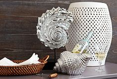 The rattan tray and silver accents go together well for this setting.