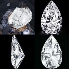 Before... After - A 234-ct rough diamond was discovered in a De Beers mine in Jwaneng, Botswana; it took 21 months to polish before it was put on the auctioneer's block ///// A SPECTACULAR AND HIGHLY IMPORTANT DIAMOND. Now 'THE WINSTON LEGACY'. The pear-shaped diamond weighing 101.73 cts, in black leather fitted case / box. Price Realized $26,746,541 // Estimate on request. GIA / D colour, Flawless clarity, with Excellent Polish and Excellent Symmetry. Type IIa [C. GE. 15 May 2013]…