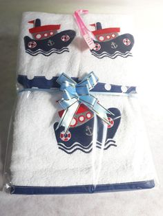 Nautical burp cloth set! 1x standard burp cloth. 2x standard facecloths. Matching binding,for sale on our online shop  www.amjembroidery.co.za