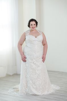 2391df0fdb Fitted A-line dress from Sincerity Bridal. Queen-Anne neckline with sparkly  lace. Plus Size ...