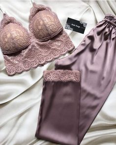 Luxurious panties, featuring lavish graphic designer lingerie, bras, clothing, loungewear and components. Cute Sleepwear, Lingerie Sleepwear, Lingerie Set, Loungewear, Nightwear, Pretty Lingerie, Beautiful Lingerie, Purple Lingerie, Lounge Outfit