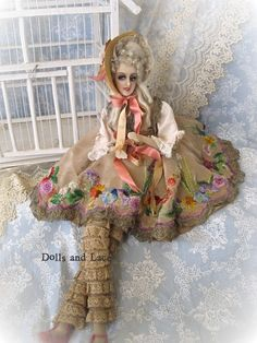 Rare and Fabulous Wax French Bo Peep Boudoir Doll with Elaborate Costume So Unique