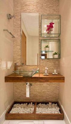 Revestimento - Cuba de vidro - Espelho e nichos espelhados - Caixas com pedras