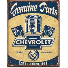 Antique Metal Signs | ... Parts Pistons Distressed Retro Vintage Tin Sign Tin Sign , 13x16