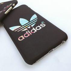 Adidasブランド夜光マット素材スマホケースiPhone7/7 Plus/6S plusアイフォン5S/SEハードケース縞模様携帯カバーかっこいい男女向け
