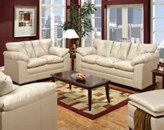 Keep your room fresh and light this summer with a taupe upholstery like this sofa/loveseat set.