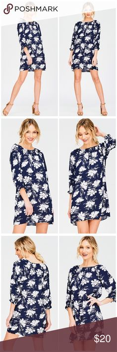 LUCY MINI Navy blue floral print off shoulder quarter sleeve boho shift mini dress. 100% polyester. Imported No bundles 🚫 Like us on FB  Shop in our Facebook shop for better prices Dresses Mini
