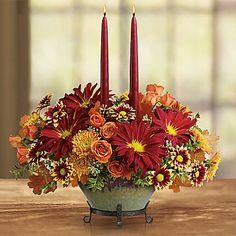 Teleflora's Tuscan Autumn Centerpiece Vase Arrangement