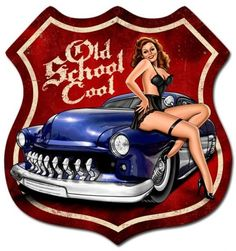 Vintage and Retro Wall Decor - JackandFriends.com - Retro Old School Cool Shield  - Pin-Up Girl Metal Sign, $47.97 (http://www.jackandfriends.com/retro-old-school-cool-shield-tin-sign/)