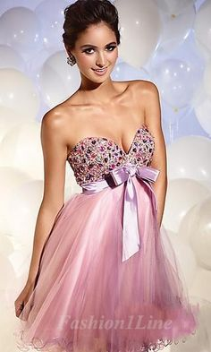 Sassy mini tornasol chiffon dress with embroidered shape heart cleavage & a delicate satin bow : D