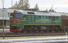 Lithuanian railways M62K unit 1229 in Panevezys. Lithuania