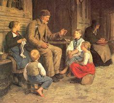 Grandfather Telling A Story - Albert Samuel Anker Renoir, Henri Matisse, Monet, Charles Gleyre, Todays Parent, School Portraits, Mary Cassatt, Art Database, Kids Sleep