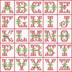 Gráficos de letras para bordar em ponto cruz