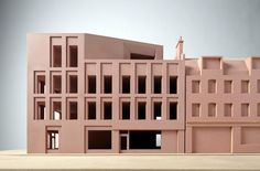 """Our model of Norton Folgate / Folgate Street. A simple brick form, with a simple rhythm of windows. """"Our model of Norton Folgate / Folgate Street. A simple brick form, with a simple rhythm of windows. Concept Architecture, Facade Architecture, Contemporary Architecture, Brick Facade, Facade House, Duggan Morris, Arch Model, Windows, Building"""