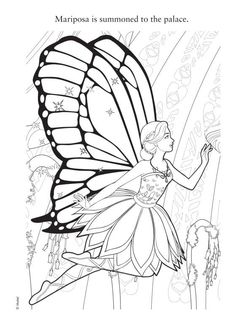 Barbie Mariposa Coloring Pages  Barbie Fairy Party  Pinterest
