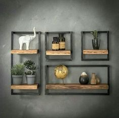 Combined wall shelf Edge Kombi Wandregal Edge I The combi wall shelf Edge consists of several individual wall shelves. The shelves consist of a shelf made of solid acacia wood and a … - Modern Floating Shelves, Home Decor Shelves, Regal Design, Wood Wall Shelf, Unique Wall Shelves, Reclaimed Wood Shelves, Wall Shelf Decor, Cube Shelves, Corner Shelves