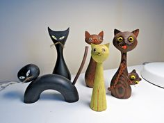 Vintage Wooden Wood Cat Figurine Collection Japan Black Tanuki Cryptomeria Wony   eBay