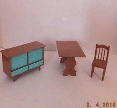 Vintage Triang Jennys Home Dolls House Plastic Table Chair Sideboard Ebay