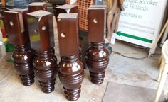9ft Jelks antique snooker table restoration. (1)French polished snooker table legs.