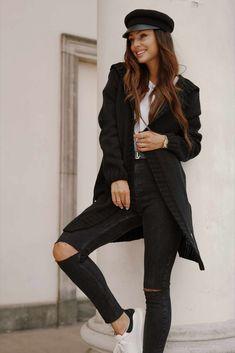 Cardigan dama tricotat clasic cu gluga negru #cardigandama Hipster, Style, Fashion, Swag, Moda, Hipsters, Stylus, La Mode, Fasion