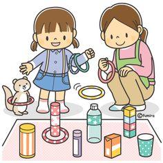 輪投げをする子どもと保育士さんのイラスト(カラー)