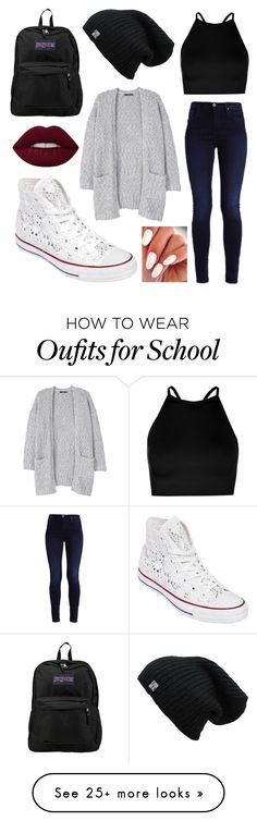 """Back to school"" by mikaelawriter on Polyvore featuring MANGO, Boohoo, Converse and JanSport"