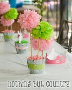 Cute and easy centerpieces. I love the idea of this one pinner who said: pink & green tissue paper poms for a princess & frog party.