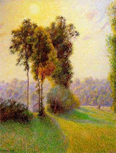 Page: Sunset at Sent Charlez. Eragny Artist: Camille Pissarro Completion Date: 1891 Style: Pointillism Genre: landscape Technique: oil Material: canvas Gallery: Sterling and Francine Clark Art Institute at Williamstown, MA, USA