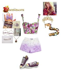 """""""Rachel Rider- Fitzherb - Daughter of Rapunzel and Flynn Rider (Eugene Fitzherb)"""" by maxinepotter ❤ liked on Polyvore featuring Disney Couture, Converse, Disney, disney, tangled, OC and Descendants"""