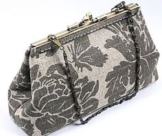 Beautiful Handmade Clutch Purse with Sew On Frame, Sage and Khaki Floral Barkcloth, new Etsy USA  SALE  #WhiteCrossDesigns