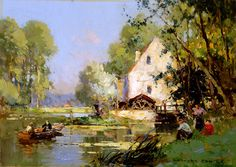 """Painting of the Day (SOLD archives): Edouard Leon Cortes' """"By the Mill"""" - http://rehs.com/blog/2014/03/painting-of-the-day-sold-archives-edouard-leon-cortes-by-the-mill/"""