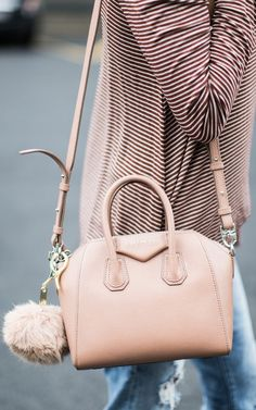 Givenchy Purse and Faux Fur Pom Pom Keychain