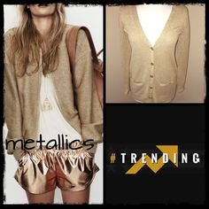 {Lauren Ralph Lauren} Gold Metallic Cardigan Beautiful gold metallic cardigan button down . Has two functional pockets and the buttons are gold with the Ralph Lauren name in them. Has two snare pulls on the back but not noticeable when wearing. This would also be cute to wear at the beach over your swimsuit . #metallic, #metalliccardigan, #ralphlauren, #ralphlaurengoldcardigan Ralph Lauren Jackets & Coats Blazers