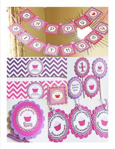 Chevron cupcake birthday party