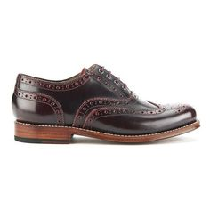 Grenson Women's Rose Leather Brogues - Cherry Rub Off ($150) ❤ liked on Polyvore featuring shoes, oxfords, leather sole shoes, red flat shoes, leather shoes, red flats and oxford shoes