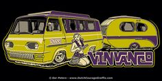 """VinVanCo"" Vintage Van Company Ford Econoline Travel Wagon with Mostard Yvonne vintage caravan - sticker #hammered #Ford #Econoline #Mostard #Yvonne #vintage #caravan #sticker #design"