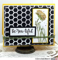 Card by Connie Mercer using Darkroom Door Beautiful Blooms Stamp Set and Honeycomb Background Stamp Craft Stick Crafts, Paper Crafts, Mini Mason Jars, Distress Oxide Ink, Flower Stamp, Honeycomb, Altered Art, Card Stock, Card Making
