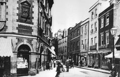 Petty Cury in 1908, from the Sidney Street end