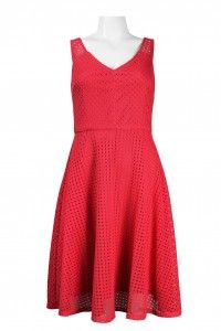 London Times Sleeveless V-Neckline Eyelet Detail Lace Flared Dress