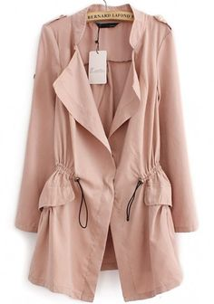 Pink Drawstring Notch Lapel Cotton Blend Trench Coat