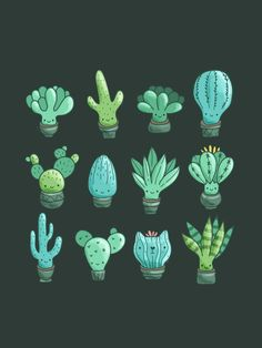 Adorable cartoon cacti and succulents