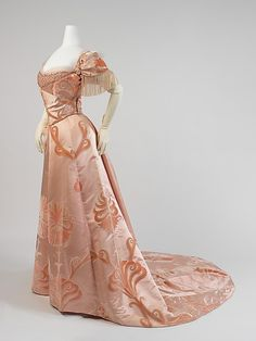 Early 1900s dress of flocked satin    Fabulous selection of steampunk, handmade wedding gowns!