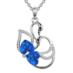 14K Electroplated Women Swan Blue Festival Necklace Hand Made Choker Collar Chain Jewelry >>> For more information, visit