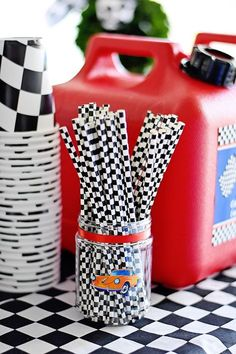 Checkered flag straws from a Race Car Birthday Party on Kara's Party Ideas Hot Wheels Party, Festa Hot Wheels, Hot Wheels Birthday, Race Car Birthday, Birthday Boys, Birthday Ideas, Car Themed Parties, Cars Birthday Parties, Birthday Party Decorations