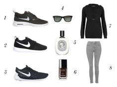 black Nike trainers fashion by annmariefashionmumof40 on Polyvore featuring polyvore, fashion, style, Topshop, NIKE, Ray-Ban, Diptyque and Chanel