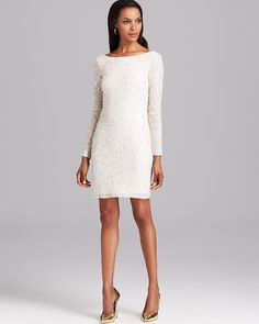Aidan Mattox Cocktail Dress - Long Sleeve Sequin on shopstyle.co.uk