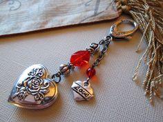 Beaded Key Chain / Purse Charm / Heart Key Chain / Antique Silver Key Chain…