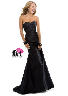 Glam Bridesmaid, strapless black gown, Flirt by Maggie Sottero P1503.
