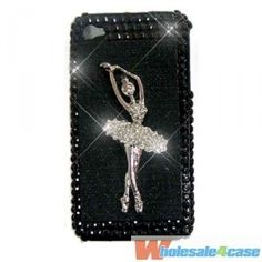 Beautiful Ballet dancer Bling Bling Crystal Pearl Rhinestone Diamond Hard Back Cover Case For iPhone 4 4G 4S