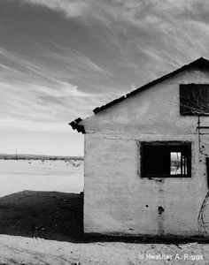 Abandoned House, Desert, sky, clouds, empty, black and white, Photograph, 8x10 via Etsy.